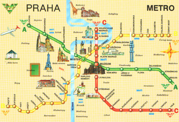 Схема метрополитена Праги.