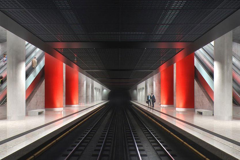 Line 13. Station 'Nizhnie Mnevniki' (project). © KB Strelka, 2016