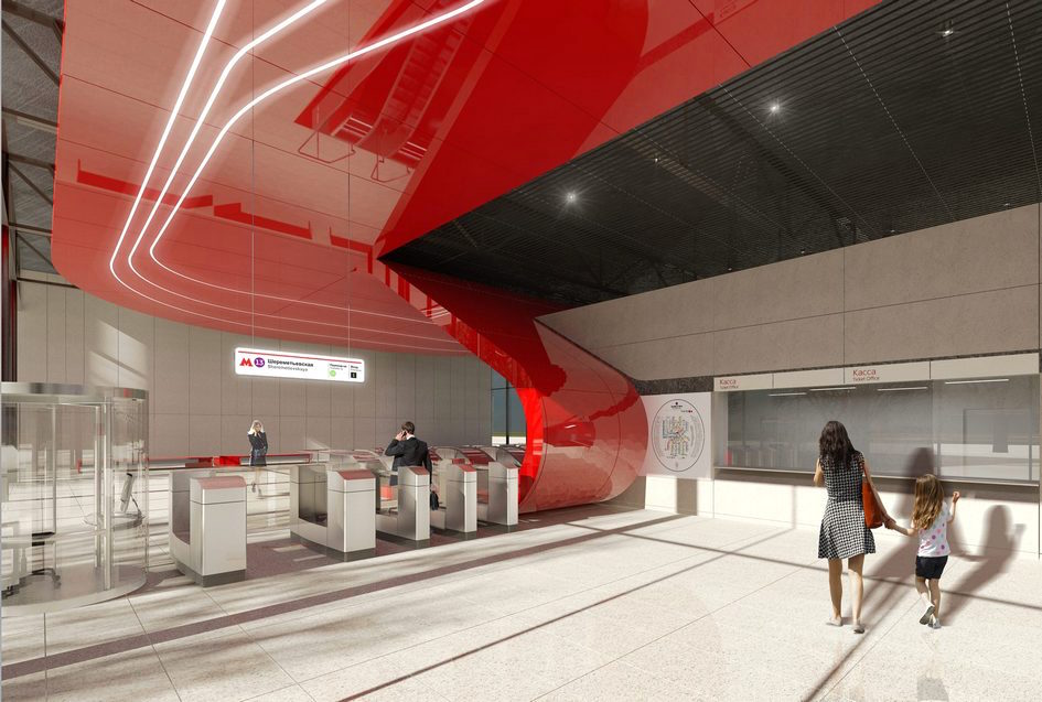 Line 11. Station 'Sheremetyevskaya' (project). © Photo VERTEX ARCHITECTS, 2017