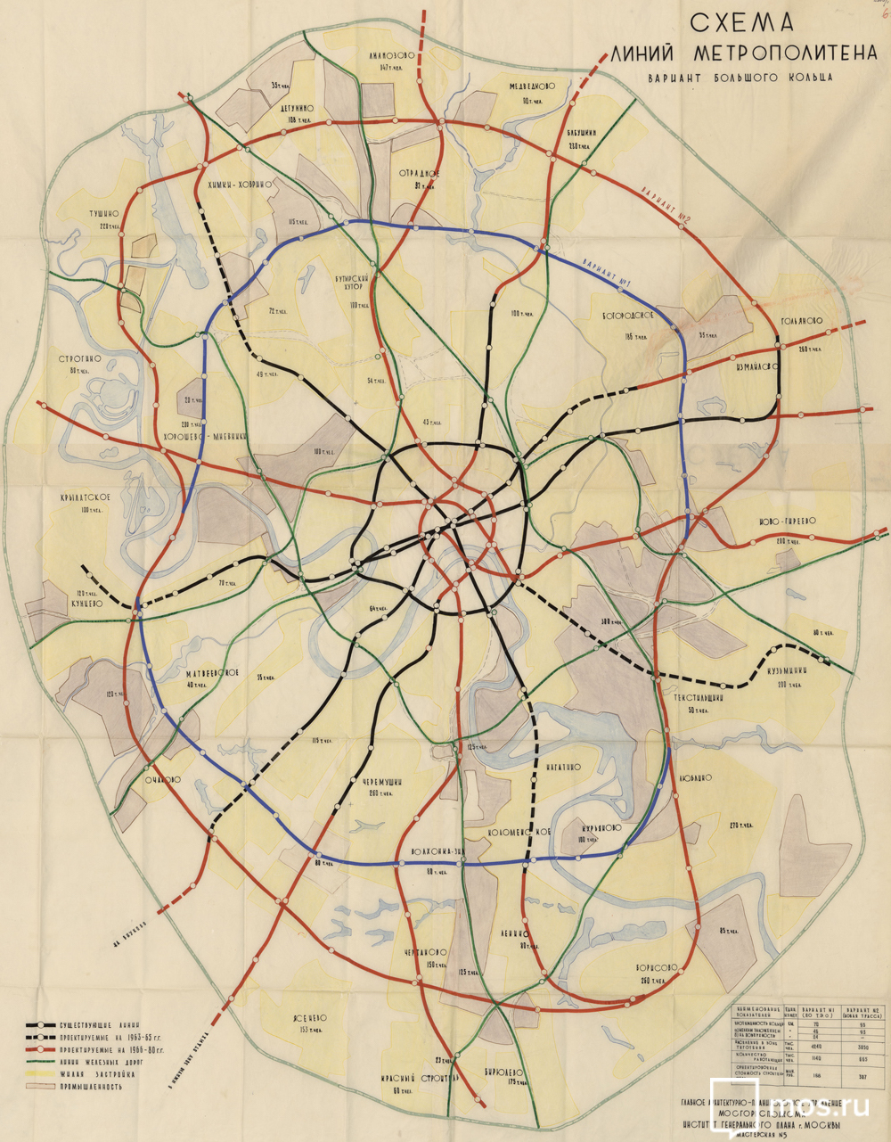 Moscow metro 1963 (perspective scheme) © Mos.ru, 2018