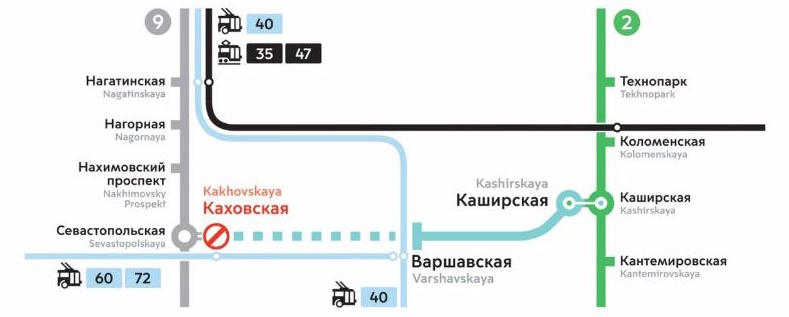 Line 11. Station 'Kakhovskaya' closed. ©Photo Mosmetro.ru, 2019