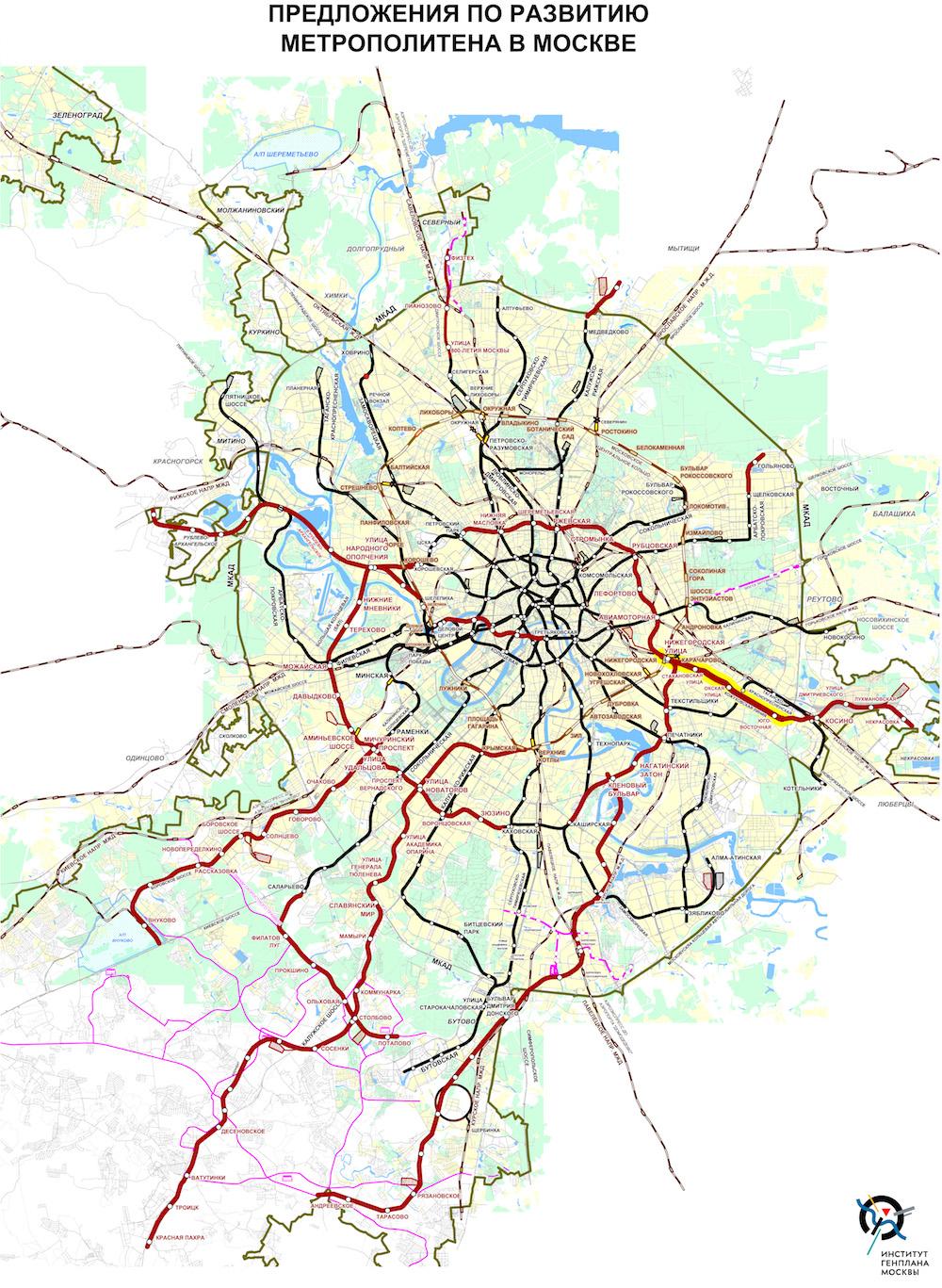 Moscow Metro Future Map (January 2019) © ГАУ «Институт Генплана Москвы», 2019