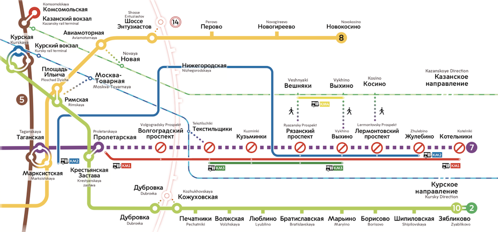 Line 7. Temporary closed. ©Photo Mosmetro.ru, 2019