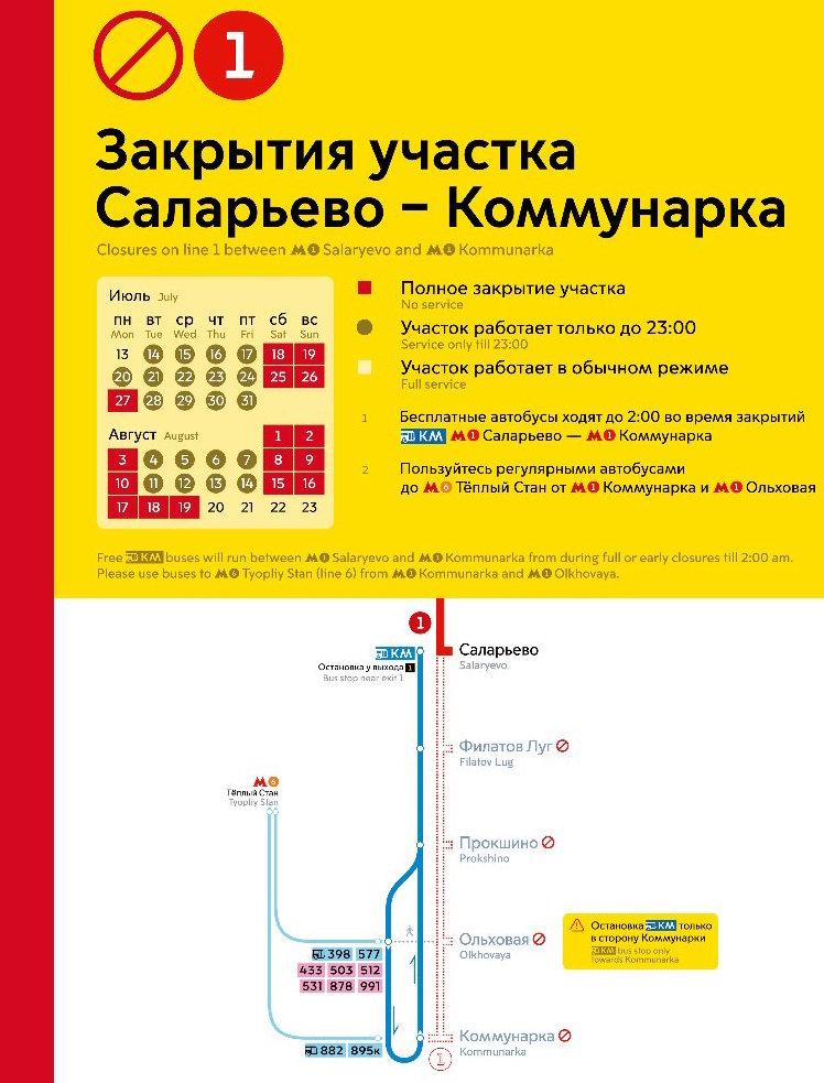 Closures on line 1 between 'Salaryevo' and 'Kommunarka'