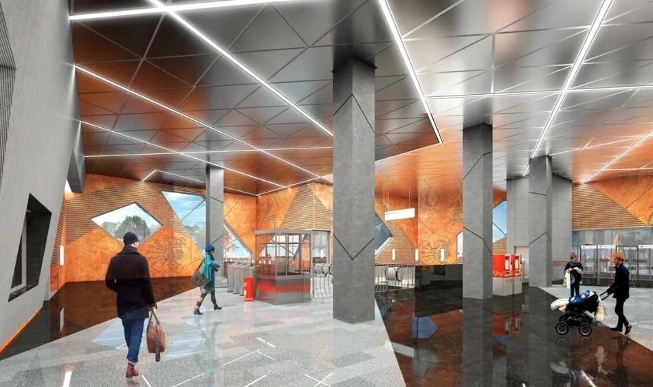 Station 'Slavyanskiy Mir' (project) ©Photo Москомархитектура, 2020