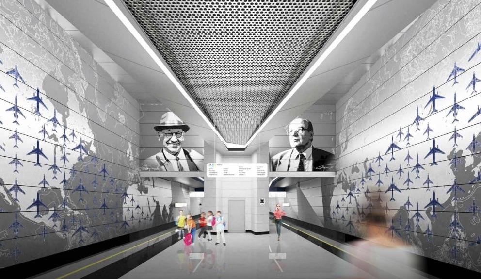Line 8A, Station 'Vnukovo' (project) ©Photo Metrogiprotrans, 2020