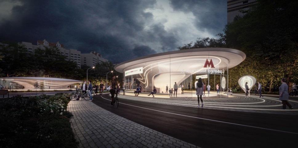 Station 'Klenoviy bulvar 2' (project Zaha Hadid) ©Photo Mos.ru, 2020