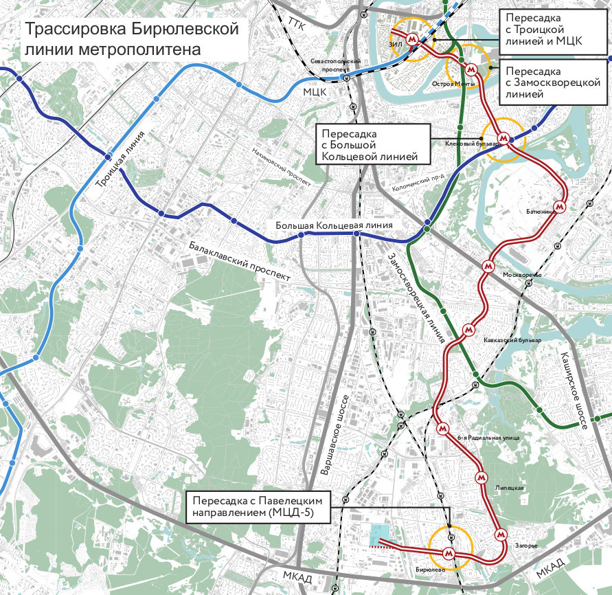 Biryulyovskaya Line (project) © Moscow General Planning Institute, 2021