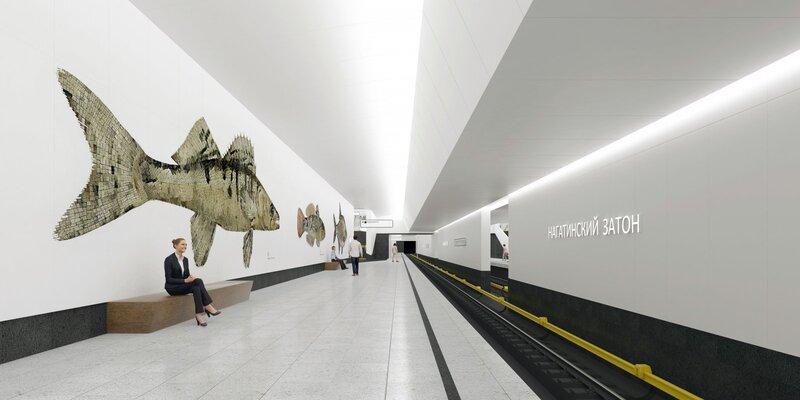 Line 11. Station 'Nagatinskiy Zaton' (project) ©Photo Mos.ru, 2021